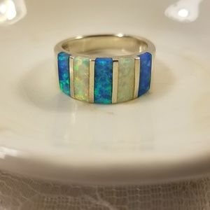 Blue & White Opal & Sterling 925 Silver Ring